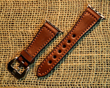 Leather watch band- English Bridle leather, Med.Brown with Orange thre