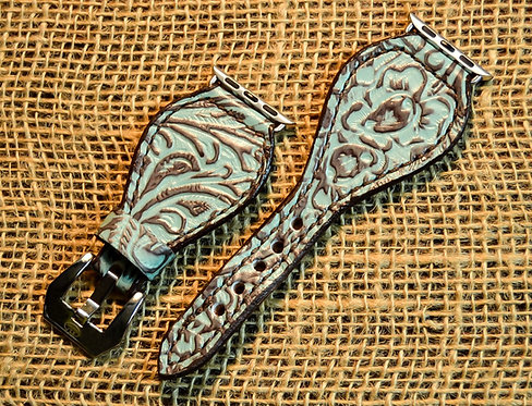 Leather watch band,Turquoise floral print,