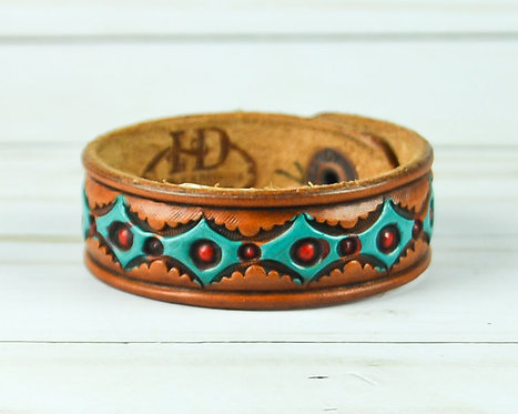 "3/4"" Bracelet, Diamond pattern, Turquoise_Red"