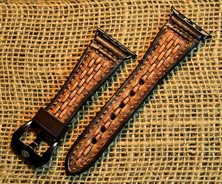Leather Watchband- Hand stamped Basket weave with Brown border