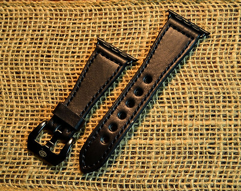 Leather watch band- English Bridle leather, Black with Black t