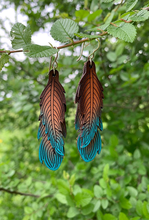 Double Leather Feather Earrings - DBFTR/TQ
