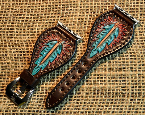 Leather Watch band, Carved feather