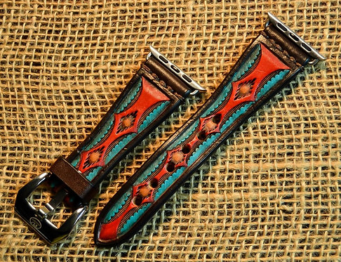 Leather watch band- Hand stamped Aztec design, BR/RD/TQ