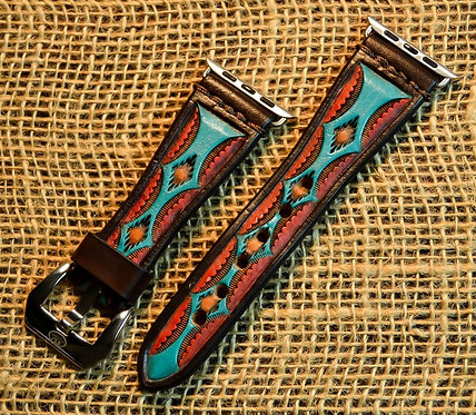 Leather watch band- Hand stamped Aztec design, BR/TQ/RED