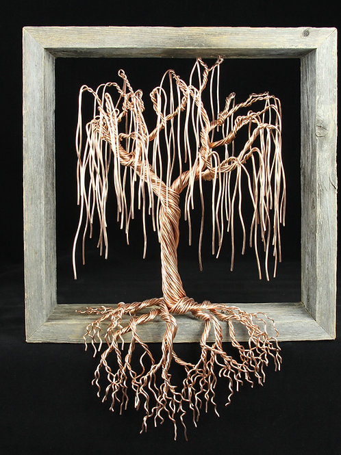 Tree of Life | Willow Tree | Copper | Reclaimed Wood | Framed Barnwood