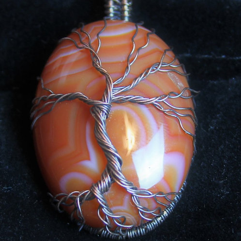 copy of Tree of Life on Banded Agate Necklace #3300