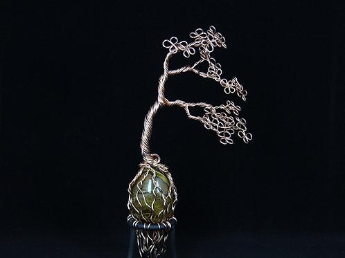 Wire Bonsai Tree on Tigers Eye Mineral #8151