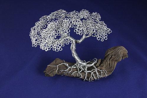 Aluminum Bonsai Tree on Driftwood With Rose Quartz #6270