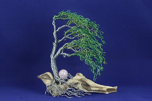 Wind Blown Bonsai Tree on Driftwood With Rose Quartz #2132