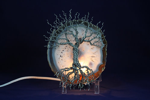Lighted Tree of Life on Agate #2120