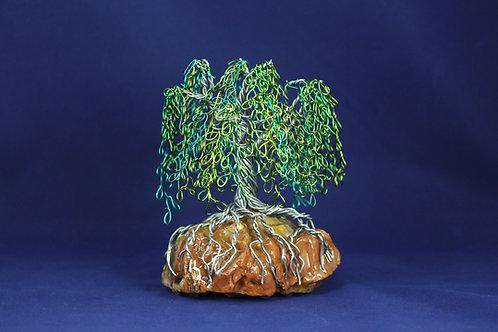 Willow Tree on Rainbow Petrified Wood #2130
