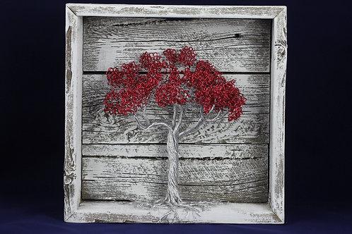 Tree of Life | Valentine Tree | Aluminum | Reclaimed Wood | Framed Barnwood