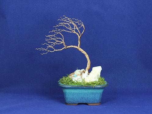 Wire Bonsai Tree on Semi-Precioius Stone #190