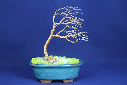 Wire Bonsai Tree on Semi-Precioius Stone #191