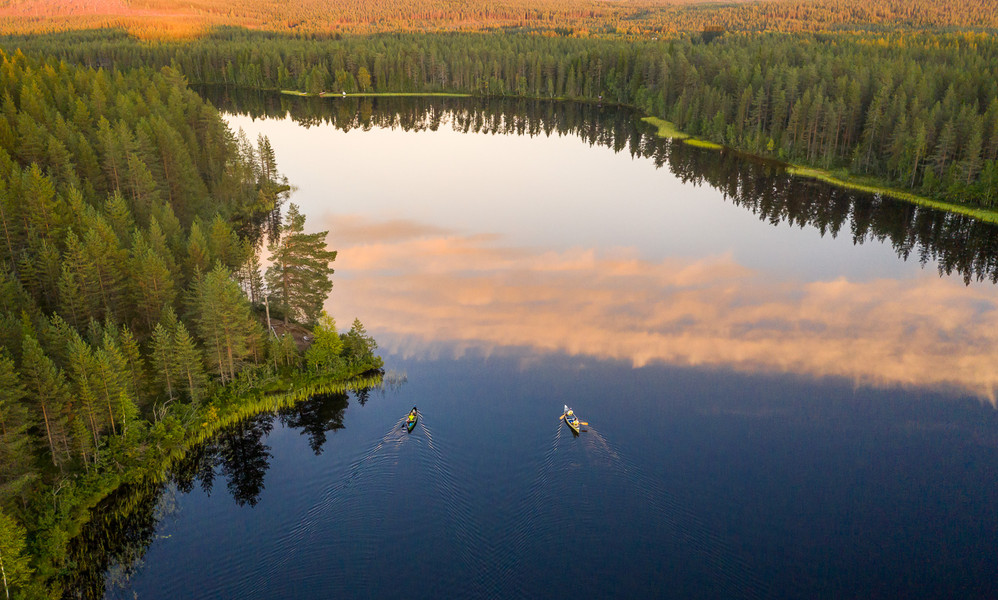 Paddling on lake