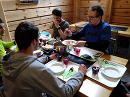 group eating in cafe korppi