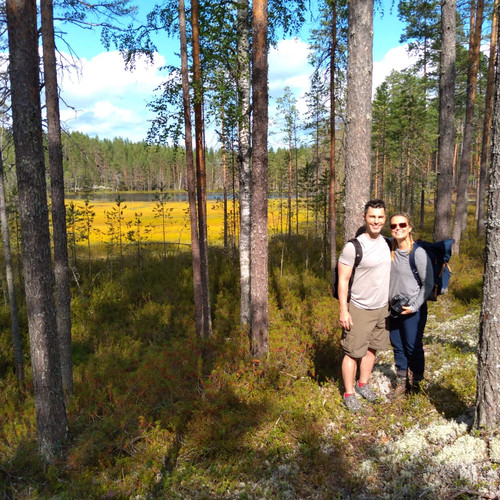 Hiking couple in South Lapland