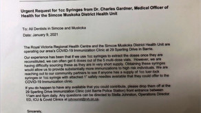 Simcoe Muskoka Health Unit & RVH running out of Syringes for Covid Vaccines says internal memo