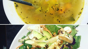Delicious Muskoka Review; Moose Delaney's Kale Salad  $10  and Chicken Soup  $4  for the Local Soul