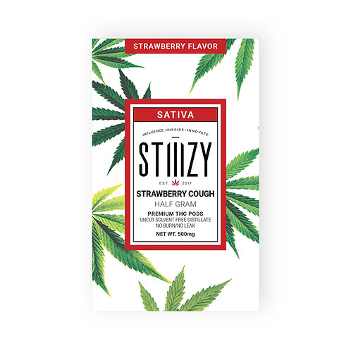 Tshirt Design - 500mg - Stiiizy Strawberry Cough - Strawberry Flavored Cartridge