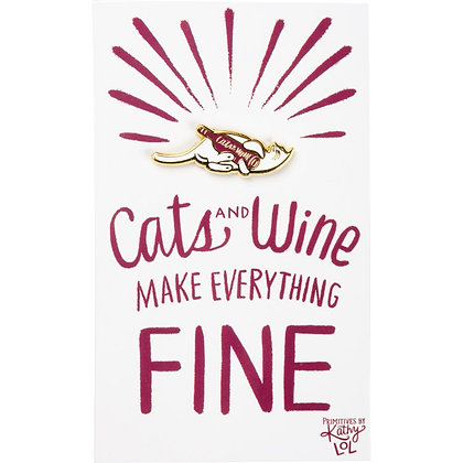 Cats and Wine Enamel Pin