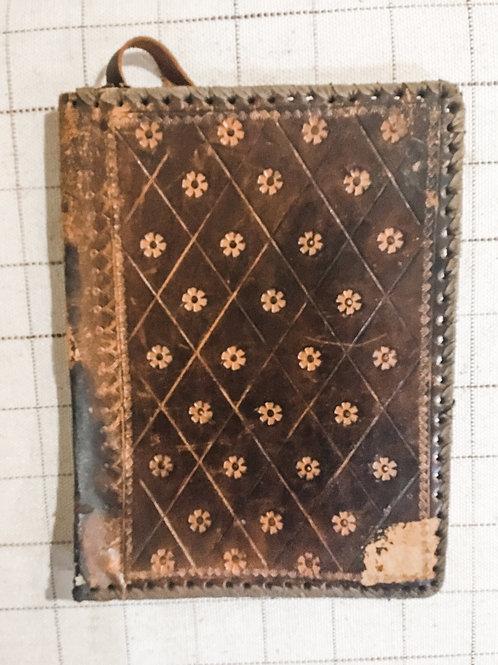 Handmade antique leather book jacket sleeve