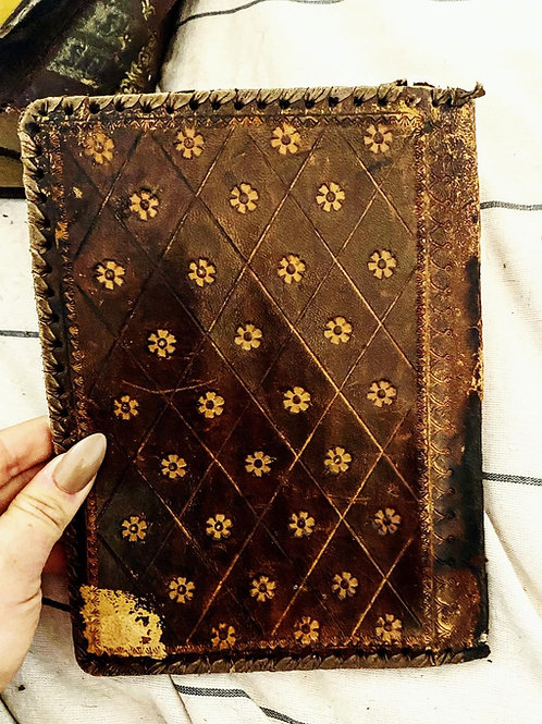 Old handmade Scottish leather book cover/jacket