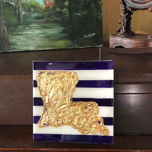 """4""""x 4"""" Gold Leaf Louisiana"""