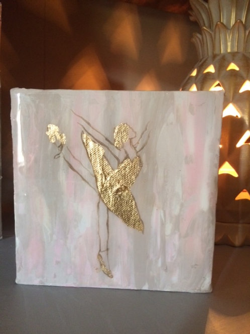 """6"""" X 6"""" Ballerina Dance with Gold Leaf"""