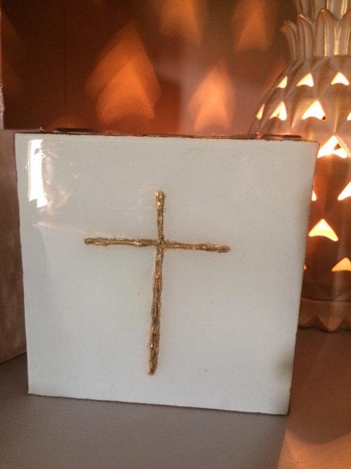 "6"" X 6"" Gold Leaf Canvas Cross"