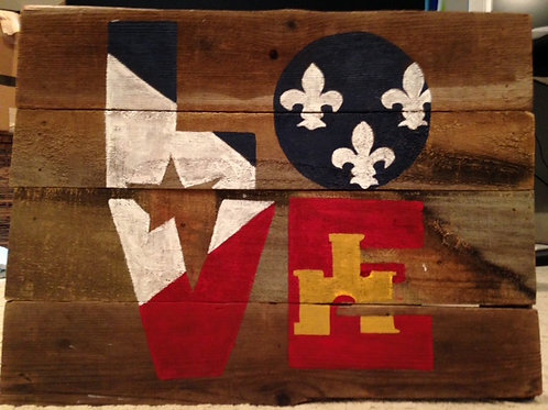 Louisiana Love Wood Sign