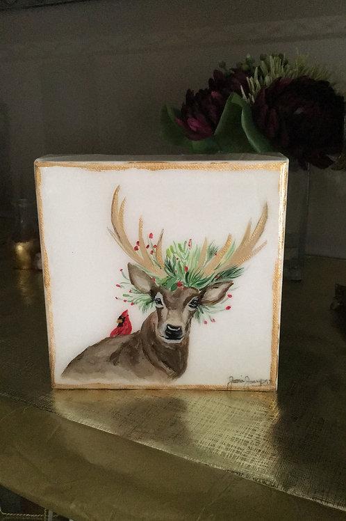 """6""""x 6"""" Cardinal Christmas Deer"""