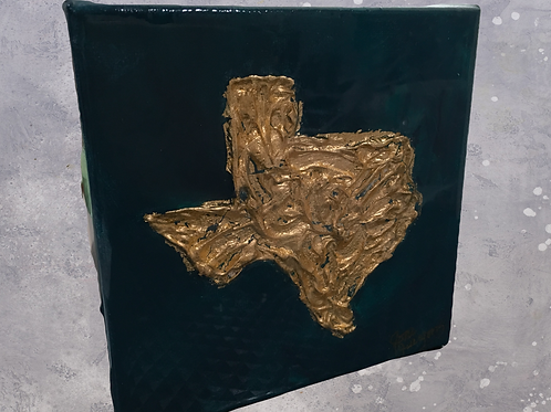 "6""x 6"" Navy & Gold Leaf Texas"