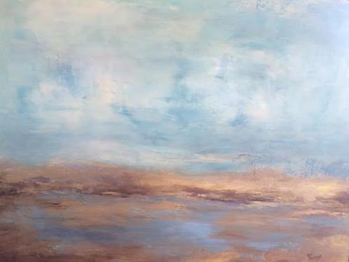 Golden Marsh Acrylic Abstract