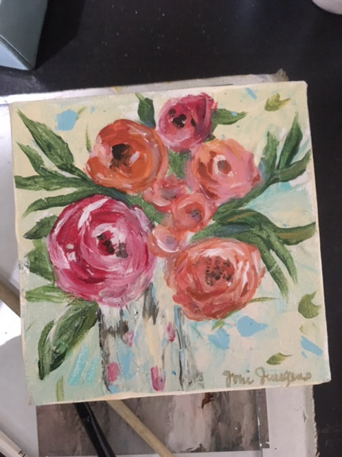 "4""x 4"" Coral & Pink Floral"