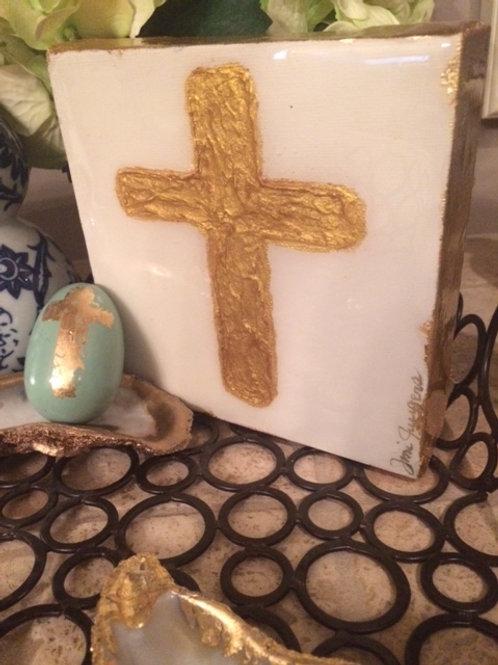 """6"""" X  6"""" Gold Leaf Cross"""