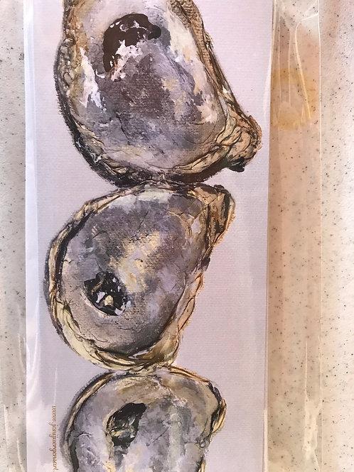 """4""""x12"""" Metallic mixed media oyster"""