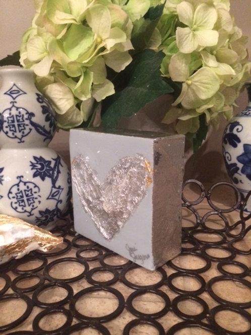 """4""""X 4"""" Silver Leaf Heart"""