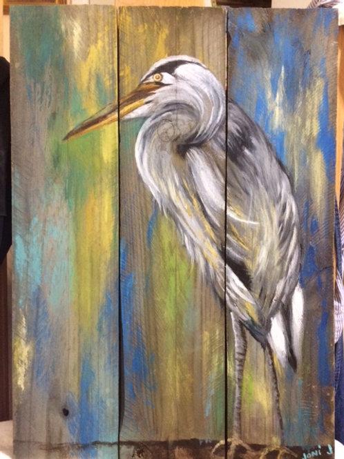 Egret on Reclaimed Wood