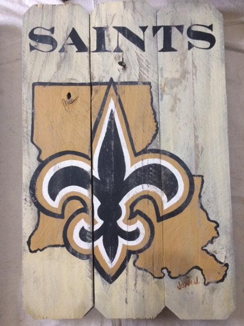 Saints in Louisiana on Reclaimed wood