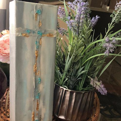 """4"""" x 12"""" Gold Leaf/Glass Cross"""