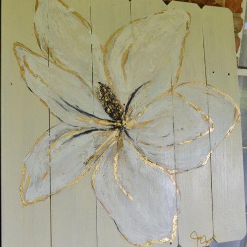 Reclaimed Wood Gold Leaf Magnolia