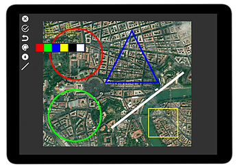 GPS map annotated with colourful shapes