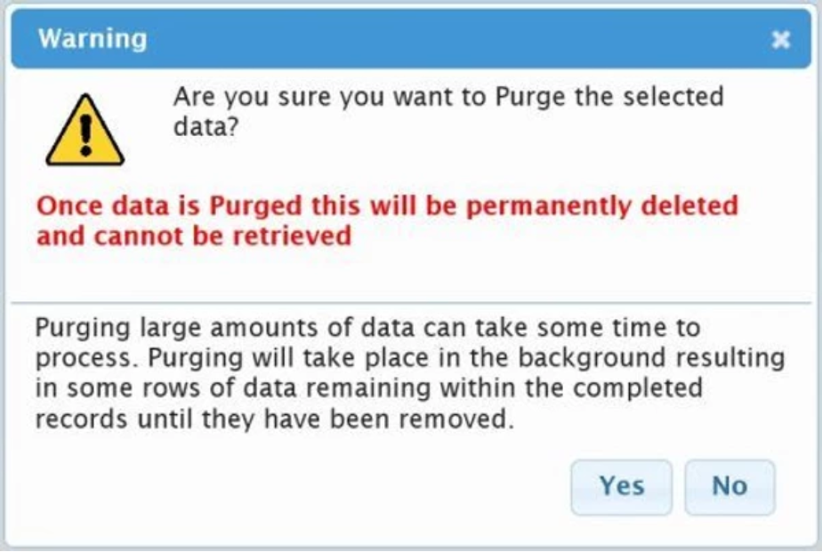 Purge Data warning message