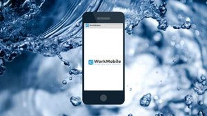 Water Background behind WorkMobile app screen