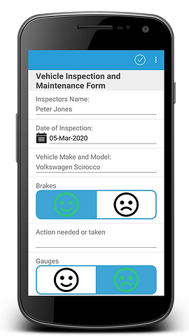 Phone device showing Vehicle Inspection and Maintenance Form on WorkMobile app