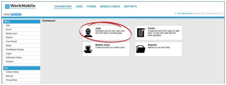 Jobs highlighted within WorkMobile Dashboard