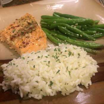Baked Salmon with Rice Pilaf