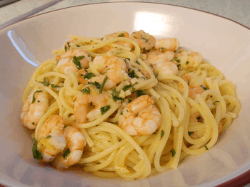 Garlic and Butter Prawn Spaghetti